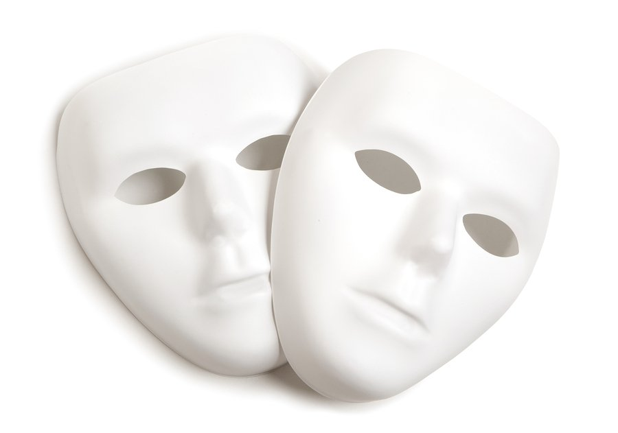 Theatre concept with the white masks, isolated on a white background