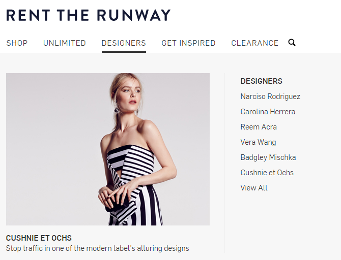 Retail marketing image showing rent the runways website