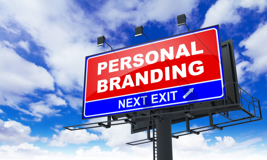 Personal Branding on Red Billboard.