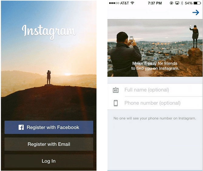 instagram first-time user onboarding experience