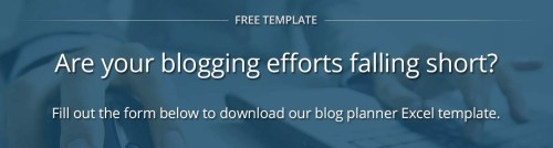 Download our free Excel blog planner template