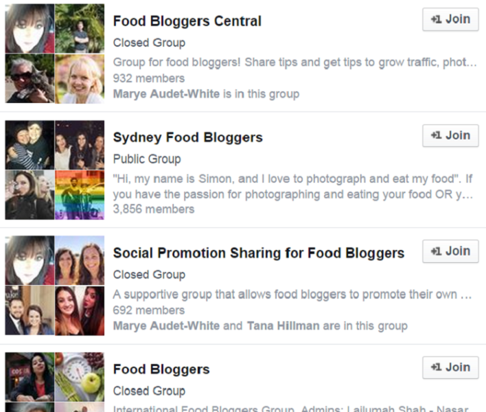 food bloggers promotion groups