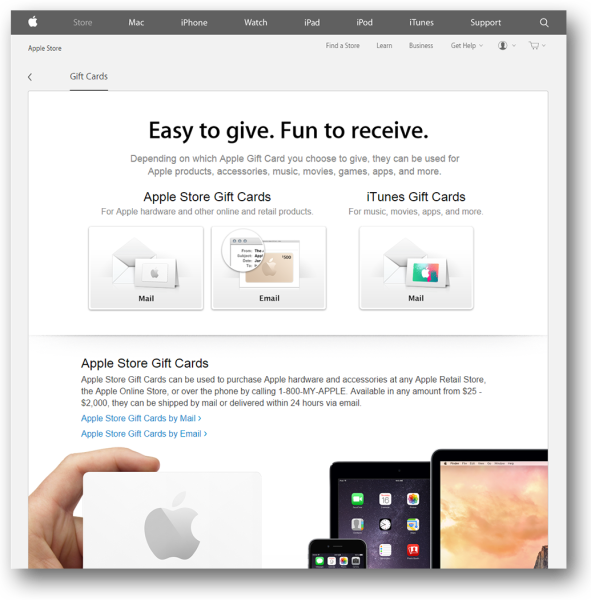 Apple typically offers gift cards that customers can buy as presents. Including a gift card in your loyalty programme can also strengthen future purchases.