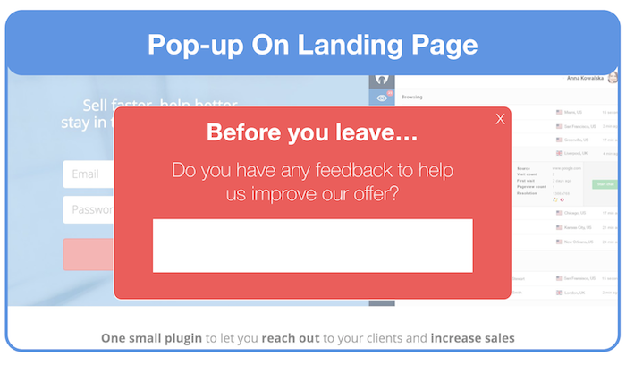 exit intent pop-up to gather feedback on landing page