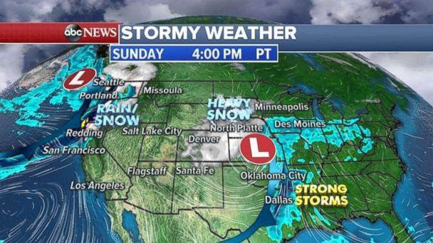 Rain and wind will impact the Pacific Northwest on Sunday. (ABC News)