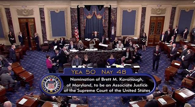 A still image taken from video of the final tally of votes by the U.S. Senate on the confirmation of Supreme Court nominee Judge Brett Kavanaugh, in Washington, Oct. 6, 2018. (Photo: Senate TV via Reuters)