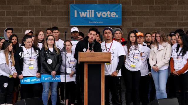 Carlos Rodriguez speaking at teen voter registration rally