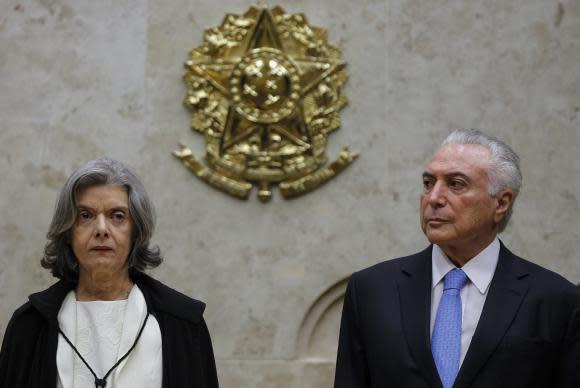 Brasília - O presidente Michel Temere a presidente do Supremo Tribunal Federal, Cármem Lúcia participam da sessão especial de abertura do Ano Judiciário 2018 (Marcos Correa/PR)
