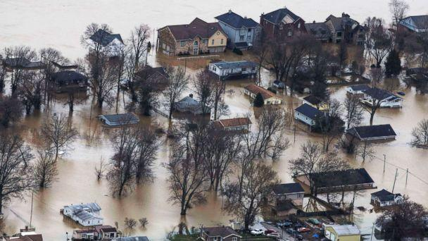 PHOTO: The town of Utica Ind., sits in flood waters, Feb. 25, 2018. ( Pat McDonogh/CJ via USA Today Network)