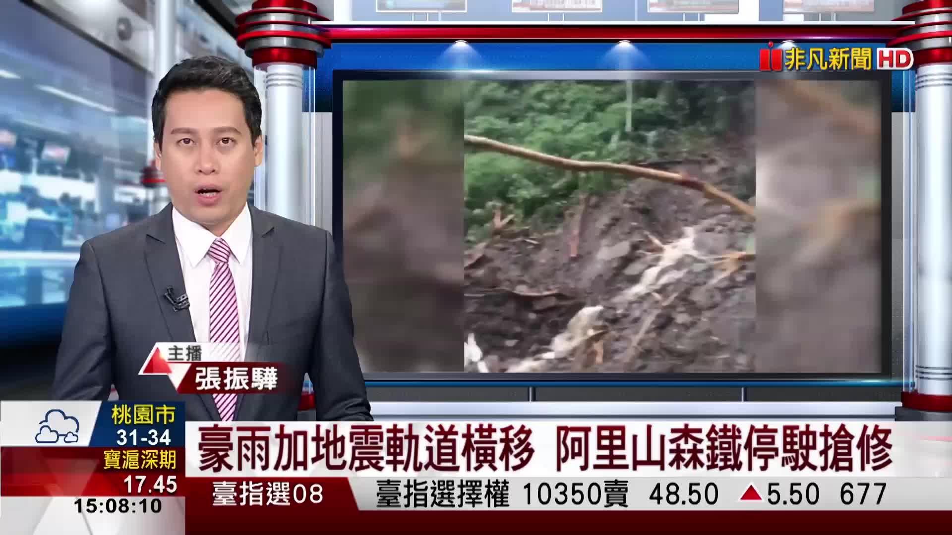 豪雨加地震軌道橫移 阿里山森鐵停駛搶修