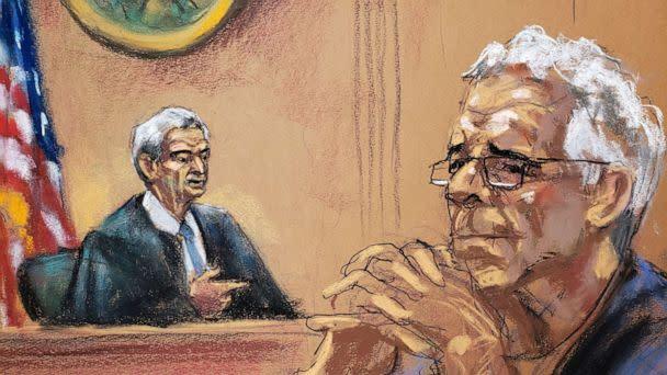 PHOTO: Financier Jeffrey Epstein looks on near Judge Richard Berman during a status hearing in his sex trafficking case, in this court sketch in New York, July 31, 2019 (Jane Rosenburg/Reuters)