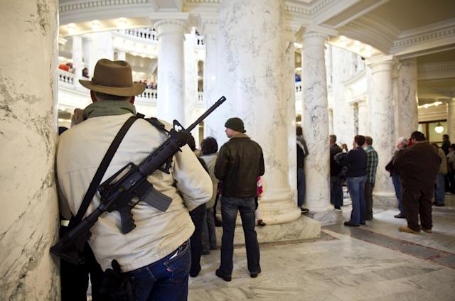 An estimated 800 pro-gun activists turned out for a rally inside the Idaho Statehouse in Boise, Idaho, Saturday, January 19, 2013. (Chris Butler/Idaho Statesman/MCT via Getty Images)