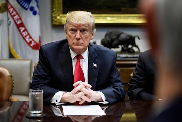 President Donald Trump is pictured during a White House meeting at the Roosevelt Room.