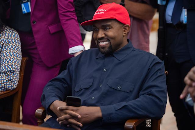 Kanye West during his meeting with President Trump in the Oval Office on Oct. 11, 2018. (Photo: Saul Loeb/AFP/Getty Images)