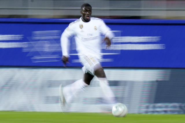 EIBAR, SPAIN - NOVEMBER 09: Ferland Mendy of Real Madrid CF runs with the ball during the Liga match between SD Eibar SAD and Real Madrid CF at Ipurua Municipal Stadium on November 09, 2019 in Eibar, Spain. (Photo by Quality Sport Images/Getty Images)