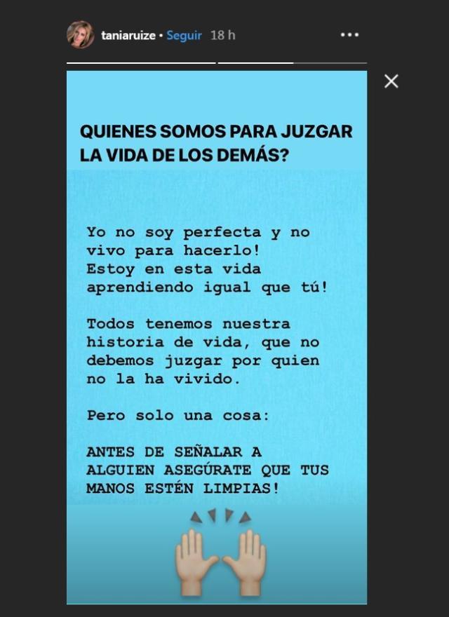 Los mensajes de Tania Ruiz (Instagram.com)