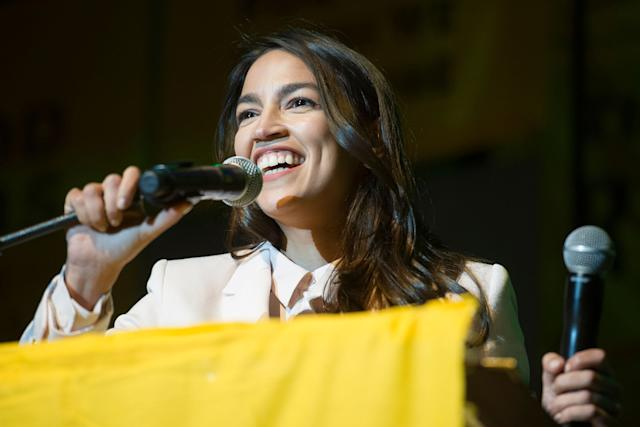 Rep. Alexandria Ocasio-Cortez, D-N.Y., addresses a Green New Deal event at Howard University in Washington, D.C., on May 13. (AP Photo/Cliff Owen)