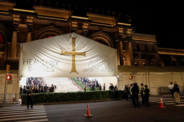 The arrivals area for the Metropolitan Museum of Art Costume Institute Gala to celebrate the opening of