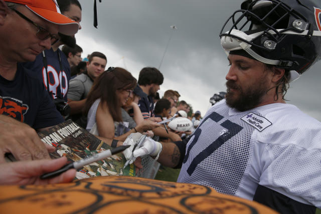 Dan Skuta, shown with the Bears at their 2017 training camp, has filed an opposition to the Jaguars trying to trademark