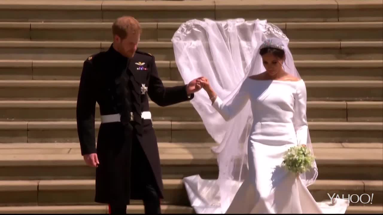 Royal Wedding: Bride and groom descend the chapel steps