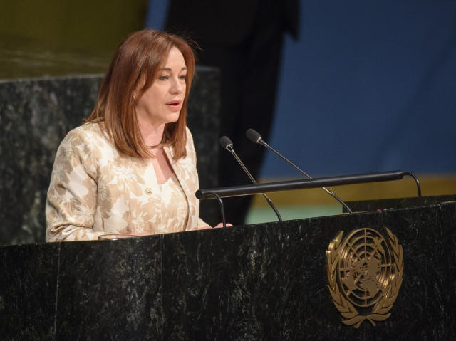 In this photo provided by the United Nations, Ecuador's Foreign Minister Maria Fernanda Espinosa Garces, addresses the U.N. General Assembly, Tuesday, June 5, 2018 at United Nations Headquarters. The U.N. General Assembly on Tuesday, overwhelmingly elected Espinosa Garces as its next president, making her only the fourth woman to lead the 193-member world body in its 73-year history. (Loey Felipe/The United Nations via AP)