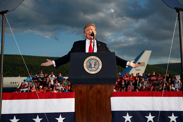 President Trump speaks during a campaign rally in Montoursville, Pa., Monday. (AP Photo/Evan Vucci)