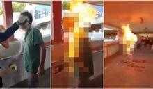港被火燒男疑為特技演員 遭爆收報酬