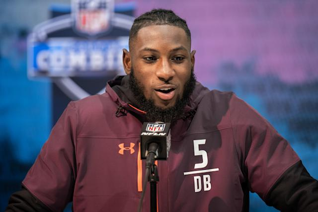 INDIANAPOLIS, IN - MARCH 03: Texas cornerback Kris Boyd answers questions from the media during the NFL Scouting Combine on March 3, 2019 at the Indiana Convention Center in Indianapolis, IN. (Photo by Zach Bolinger/Icon Sportswire via Getty Images)