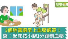 5個地雷讓早上血壓飆高!醫:起床按小腿1分鐘穩血壓