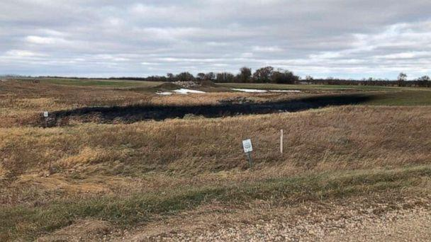 PHOTO: This photo taken on Oct. 30, 2019, provided by the North Dakota Department of Environmental Quality shows affected land from a Keystone oil pipeline leak near Edinburg, North Dakota. (North Dakota Department of Environmental Quality/Taylor DeVries)