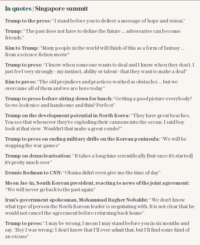 In quotes | Singapore summit North Korea Trump Kim