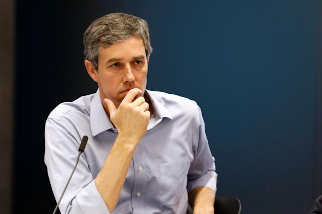 Former Rep. Beto O'Rourke, D-Texas, listens during a roundtable discussion in Des Moines, Iowa, on May 6. (AP Photo/Charlie Neibergall)