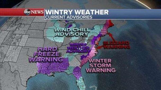 PHOTO: Over 30 states are under winter alerts, Jan. 3, 2018, for the cold and snow as the eastern half of the country remains under a deep freeze from Texas to Florida and all the way up to Maine. (ABC News)