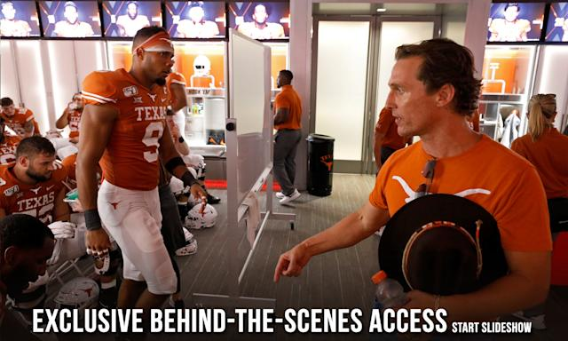 Actor Matthew McConaughey talks with members of the Texas Longhorns in the locker room at half time during the game against the LSU Tigers Saturday Sept. 7, 2019 at Darrell K Royal-Texas Memorial Stadium in Austin, Tx. ( Photo by Edward A. Ornelas )