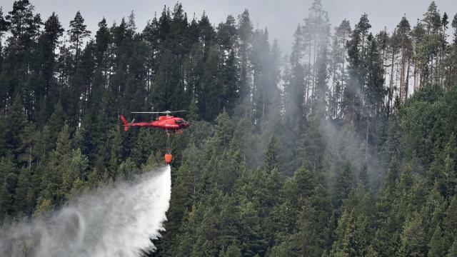 Ein Hubschrauber bekämpft einen der zahlreichen Waldbrände in Schweden. Foto: Robert Henriksson/TT NEWS AGENCY