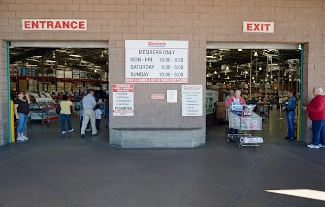 Entrance to a Costco store in Los Angeles, California.