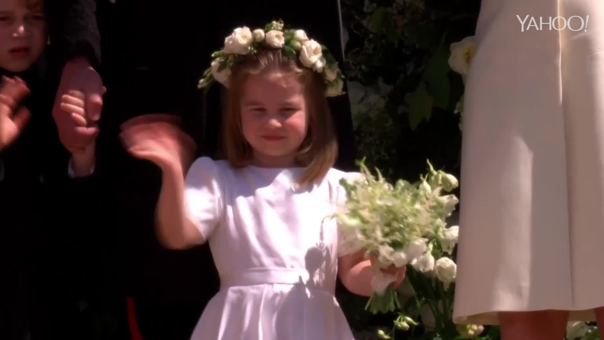 Royal Wedding: Charlotte's wave