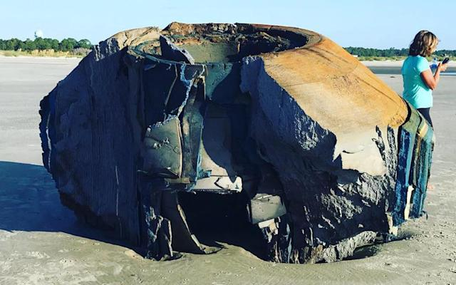 The unknown object washed up on Seabrook Island shoreline in South Carolina on Thursday, baffling local residents.