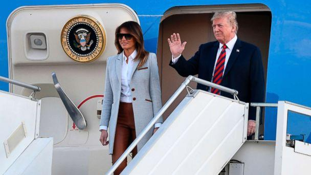 PHOTO: President Donald Trump and First Lady Melania Trump disembark from Air Force One upon arrival at Helsinki-Vantaa Airport in Helsinki, July 15, 2018, on the eve of a summit in Helsinki between the US President and his Russian counterpart. (Jonathan Nackstrand/AFP/Getty Images)