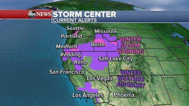 Winter storm warnings are in effect for the Cascades, Sierra Nevadas, Northern Rockies and Southern California Mountains. (ABC News)