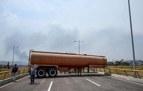 PHOTO: Containers block the Tienditas bridge in Urena, Venezuela, on the border with Colombia, Feb. 20, 2019. (Juan Barreto/AFP/Getty Images)