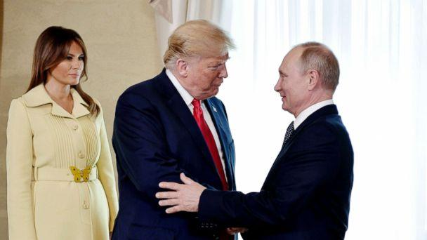 PHOTO: First lady Melania Trump, left, President Donald Trump and Russian President Vladimir Putin welcome each other at the Presidential Palace in Helsinki, Finland, July 16, 2018, prior to Trump's and Putin's one-on-one meeting in the Finnish capital. (Alexei Nikolsky, Sputnik, Kremlin Pool Photo via AP)