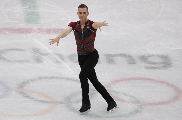 Adam Rippon in the men's single skating short program on Friday. (Damir Sagolj / Reuters)