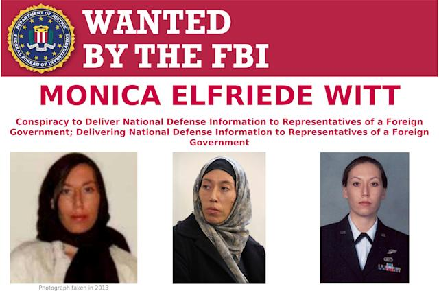 This image provided by the FBI shows part of the wanted poster for Monica Elfriede Witt. (Photo: FBI via AP)