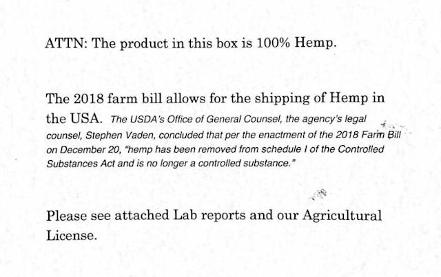 A letter from Fox Holler Farm that comes with every hemp package. (Photo: Oren Levy)