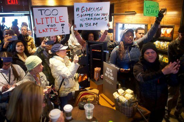 PHOTO: People demonstrate inside a Center City Starbucks, April 15, 2018 in Philadelphia. (Mark Makela/Getty Images, FILE)