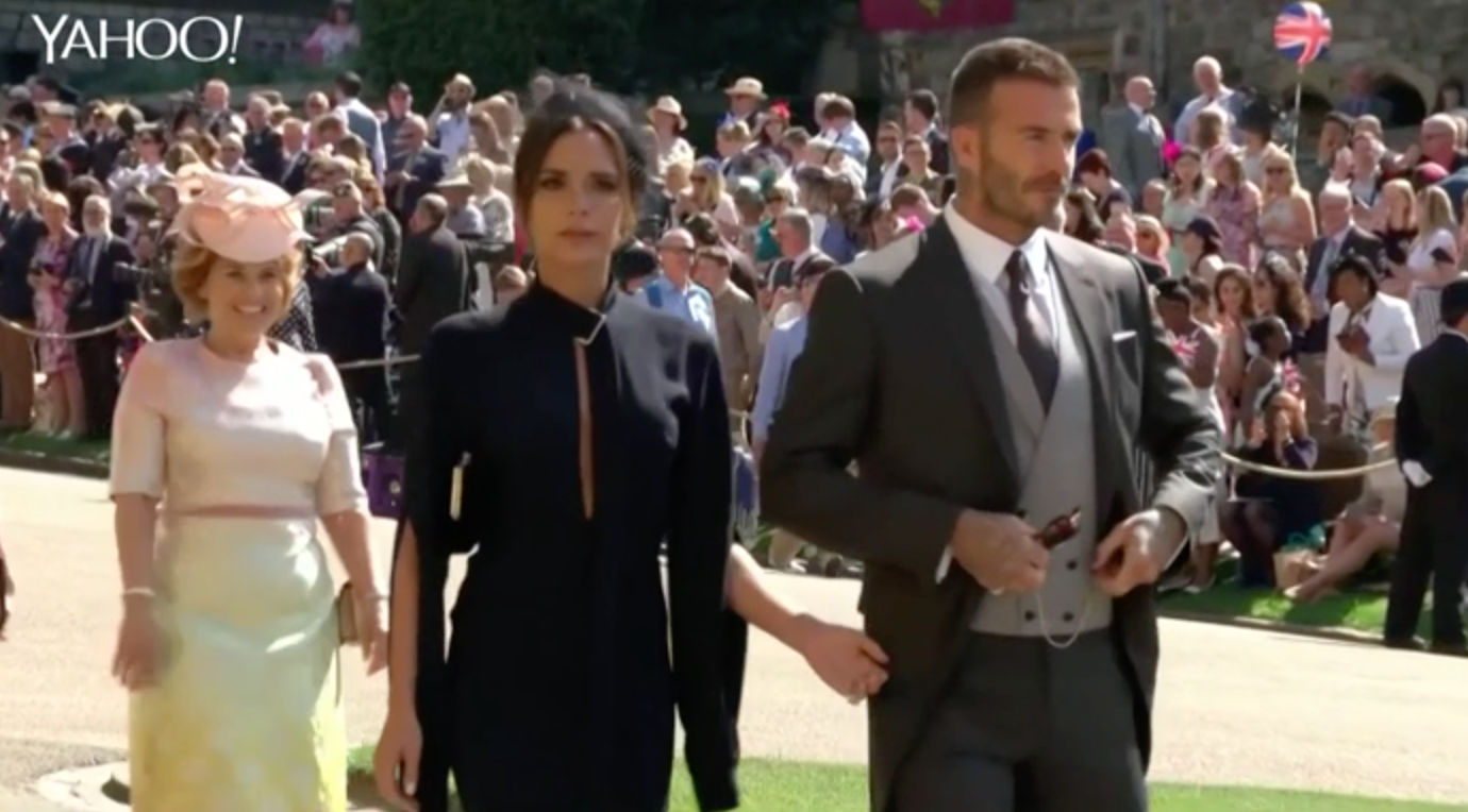 Victoria and David Beckham's glamorous royal wedding arrival
