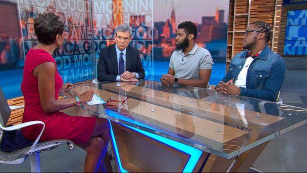 PHOTO: Rashon Nelson and Donte Robinson appear on 'Good Morning America,' with their lawyer attorney Stewart Cohen, May 3, 2018. (ABC News)