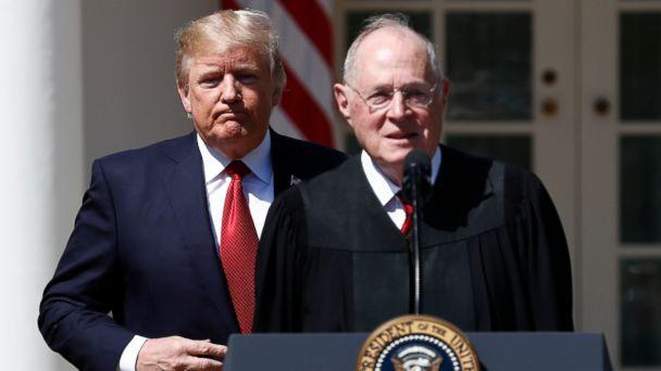 PHOTO: President Donald Trump and Supreme Court Justice Anthony Kennedy participate in a public swearing-in ceremony for Justice Neil Gorsuch in the Rose Garden of the White House White House in Washington, April 10, 2017. (Carolyn Kaster/AP, FILE)
