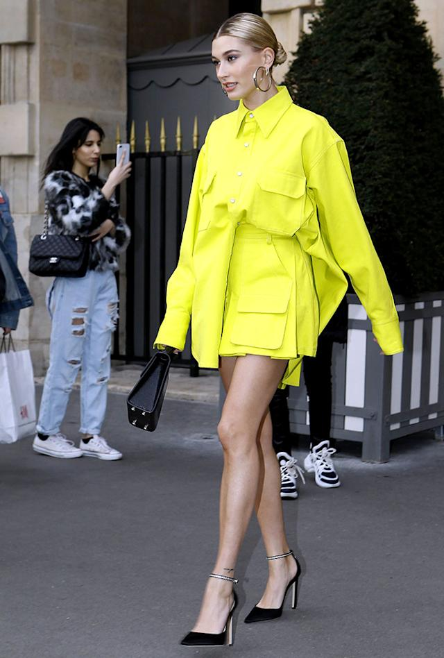Hailey BieberHailey Bieber out and about, Paris Fashion Week, France - 03 Mar 2019Wearing Matthew Adams Dolan Same Outfit as catwalk model *9870503b